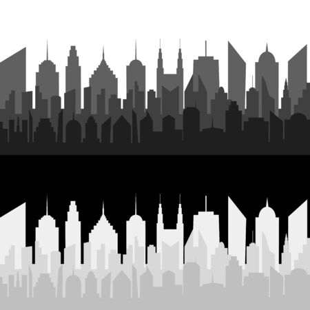 Monochrome cityscapes horizontal banners with modern city silhouettes. Vector illustration