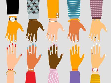 Internationales Einheits- und Freundschaftskonzept mit weiblichen und männlichen Händen verschiedener Rassen und Nationalitäten, die sich im flachen Stil erreichen. Vektor-Illustration