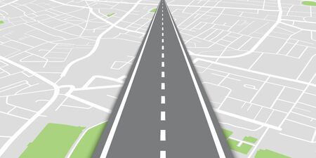 City map navigational background with straight perspective road in center of composition. Vector illustration  イラスト・ベクター素材