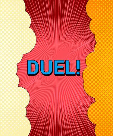 Comic duel explosive template Illustration