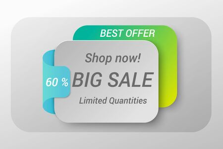 Sale web banner concept with different advertising inscriptions. Isolated vector illustration