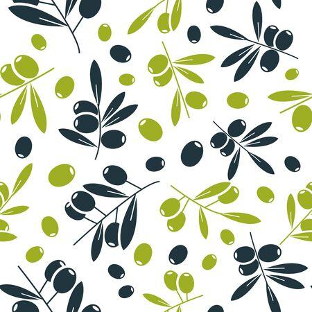 Organic olive flat seamless pattern