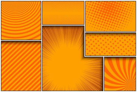 Comic orange frames composition