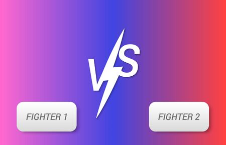 Duel and fight concept with VS letters and frames for text on colorful background. Vector illustration