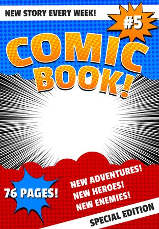 Colorful comic book cover template