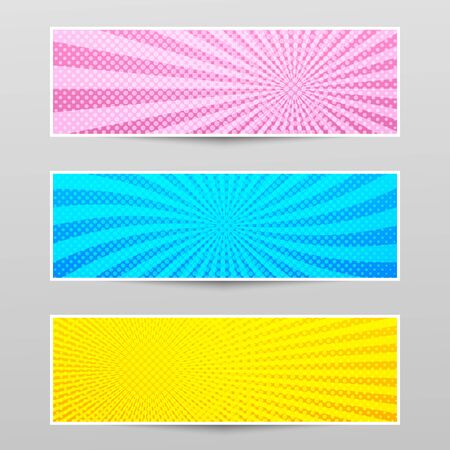 Comic shiny horizontal banners with radial and dotted effects in blue pink yellow colors. Vector illustration