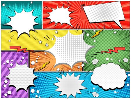 Comic light composition with blank speech bubbles lightnings circles stars on colorful frames with different humor effects. Vector illustration