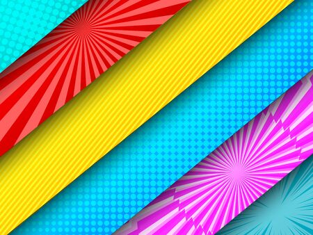 Comic diagonal colorful banners with radial halftone rays stripes effects. Vector illustration Stock Illustratie