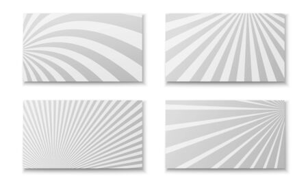 Comic monochrome cards composition with different radial patterns. Vector illustration