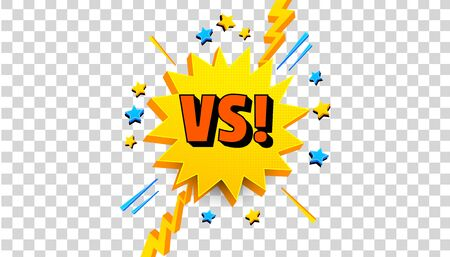 Comic competitive template with VS letters 3d yellow speech bubble lightnings stars on transparent background. Vector illustration