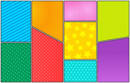 Comic colorful bright composition with stars dots stripes and halftone effects. Vector illustration Stock Illustratie