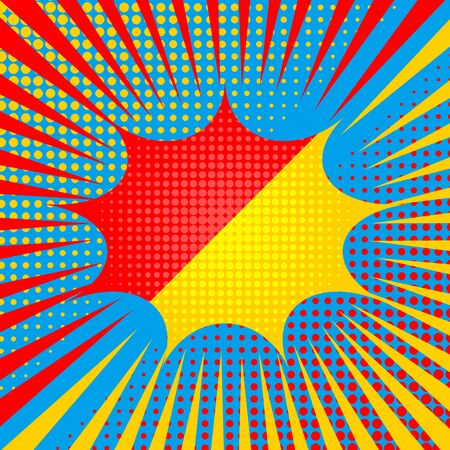 Comic explosive duel template with red and yellow speech bubble rays halftone effects on blue background. Vector illustration