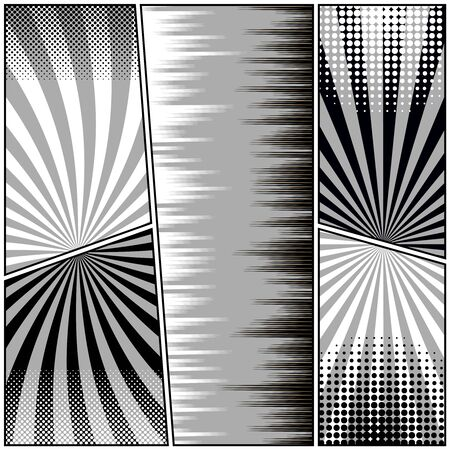 Monochrome humor composition with radial rays and halftone comic effects. Vector illustration Stock Illustratie