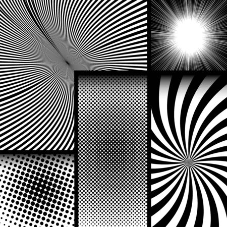 Comic monochrome dark concept with radial rays halftone effects. Vector illustration Stock Illustratie