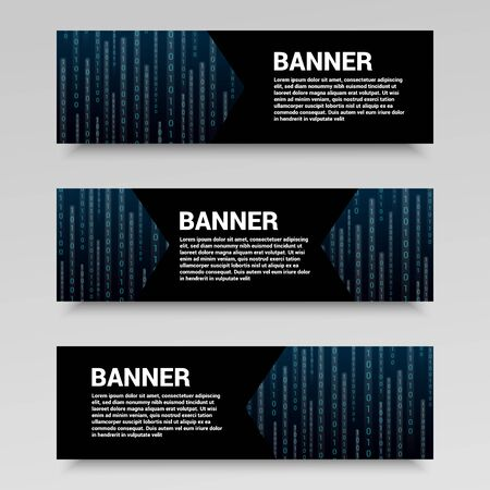 Futuristic and digital horizontal banners with place for text and glowing streams of binary computer code. Vector illustration