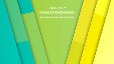 Abstract elegant trendy template with slanted rectangular shapes from green to yellow colors. Vector illustration