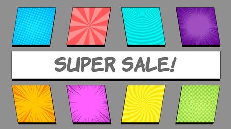 Comic bright banners composition with square colorful frames with different humor effects and Super Sale wording on rectangular shape. Vector illustration