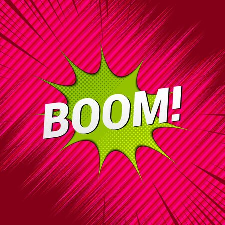 Comic explosive dynamic template with Boom wording green speech bubble rays and stripes effects. Vector illustration