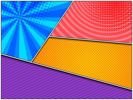 Abstract comic colorful composition with circles radial stripes and halftone effects. Vector illustration Stock Illustratie