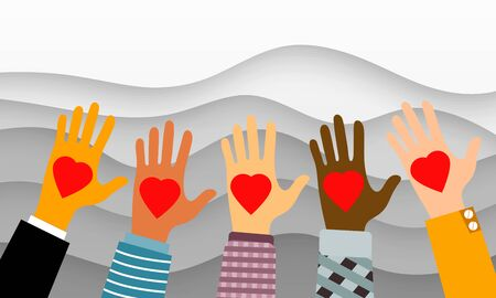 Charity and donation concept with people of different nationalities and races holding hearts on smooth waves background. Vector illustration Stock Illustratie