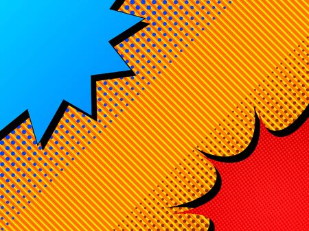 Comic duel concept with blue and red speech bubbles opposite each others halftone effects on striped orange background. Vector illustration