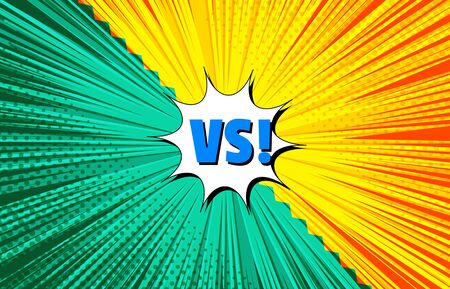 Bright burst comic versus concept with VS wording orange and green sides with rays and halftone effects. Vector illustration