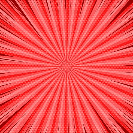 Comic red abstract background with radial rays and dotted effects. Vector illustration Stock Illustratie
