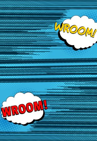 Comic speed and motion concept with Wroom wordings speech bubbles rays and halftone effects. Vector illustration Stock Illustratie