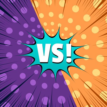 Comic rivalry concept with two orange and purple sides with spiral and rays effects. Vector illustration