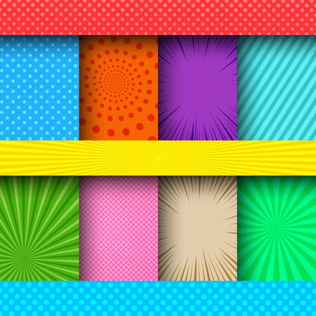 Comic colorful frames composition with different humor effects. Vector illustration Stock Illustratie