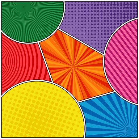 Comic colorful super composition with radial halftone circles and stripes effects. Vector illustration