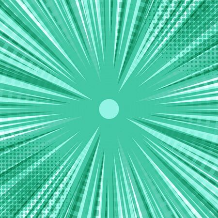 Abstract comic green burst background with rays beams halftone and circles effects. Vector illustration