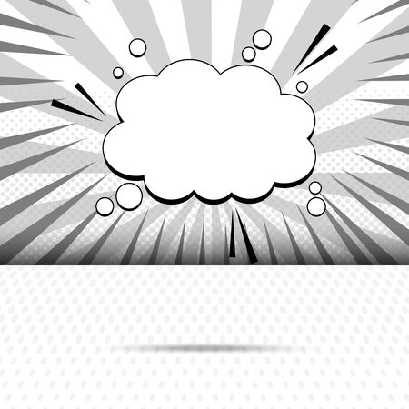 Monochrome elegant comic template with white blank speech bubble circles sound rays radial and halftone effects. Vector illustration Stock Illustratie