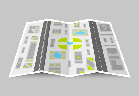 City map colorful concept with straight roads buildings lakes and green areas. Isolated vector illustration