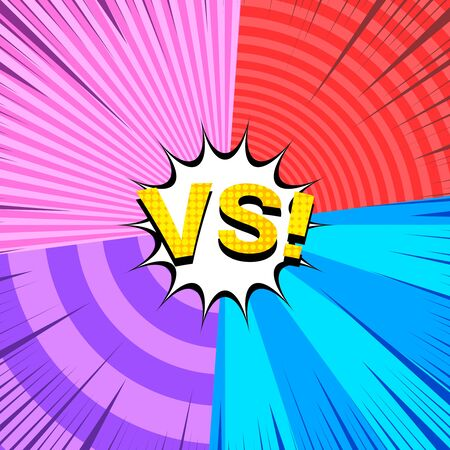 Comic fight colorful concept with VS yellow wording four frames with circles and rays effects. Vector illustration