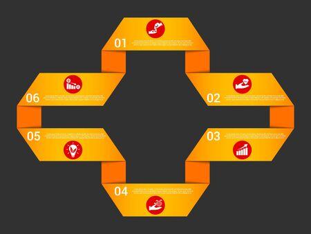 Orange ribbon infographic template