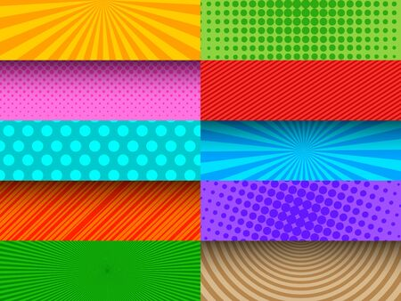 Comic colorful banners composition
