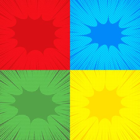 Comic backgrounds composition with speech bubbles halftone dotted rays effects in red blue yellow green colors. Vector illustration Illusztráció