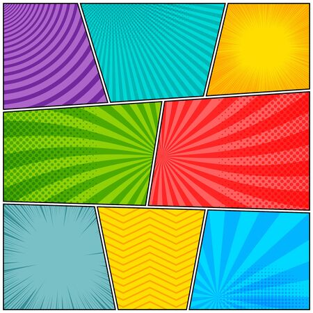 Comic book frames colorful composition