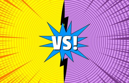 Comic duel concept with VS wording blue speech bubble yellow and purple circles rays effects. Vector illustration
