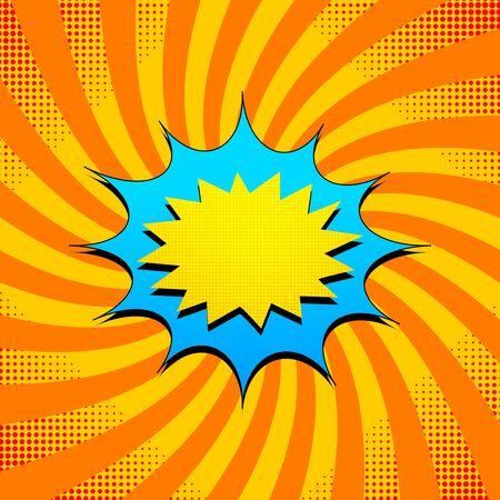 Pop art bright concept with colorful speech bubbles red halftone effects on comic orange radial background. Vector illustration Illusztráció