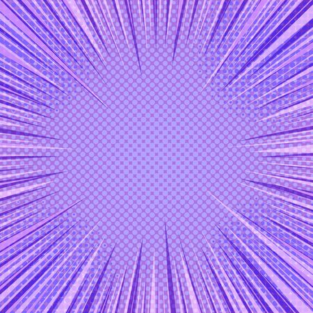 Comic abstract purple background with speed rays and halftone effects. Vector illustration Illusztráció