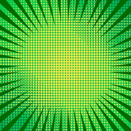 Comic abstract background with green rays and yellow halftone effects. Vector illustration Illusztráció