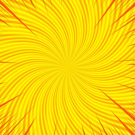 Yellow comic abstract background with rays and twisted radial effects. Vector illustration Illusztráció