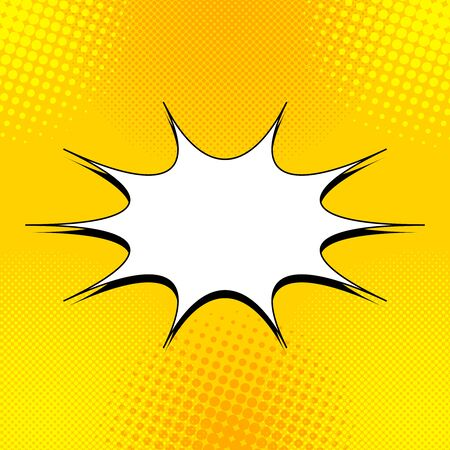Comic light yellow concept with blank speech bubble and halftone effects. Vector illustration Ilustracje wektorowe