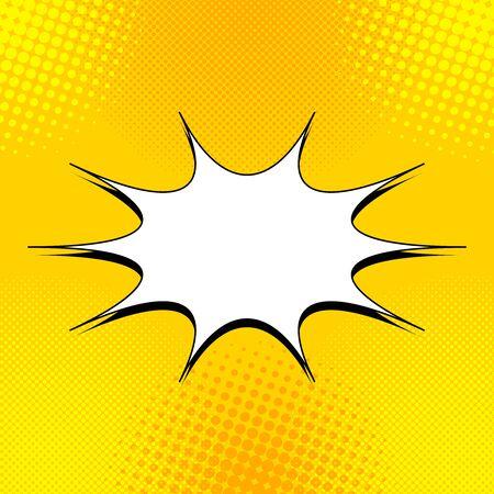 Concept comique jaune clair avec bulle de dialogue vierge et effets de demi-teintes. Illustration vectorielle Vecteurs