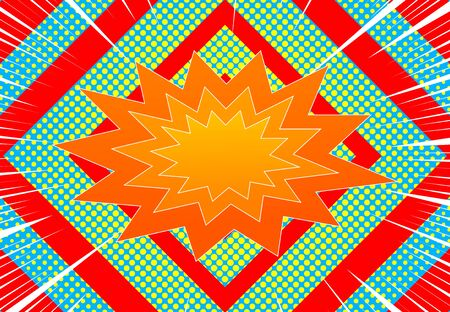 Comic explosive horizontal concept with orange speech bubble white rays red diamonds and yellow halftone effects on blue background. Vector illustration