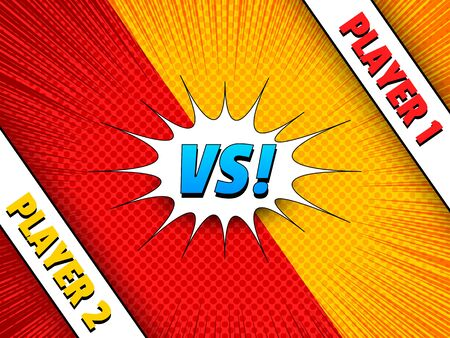 Comic duel colorful concept with VS wording speech bubble speed rays and halftone effects. Vector illustration