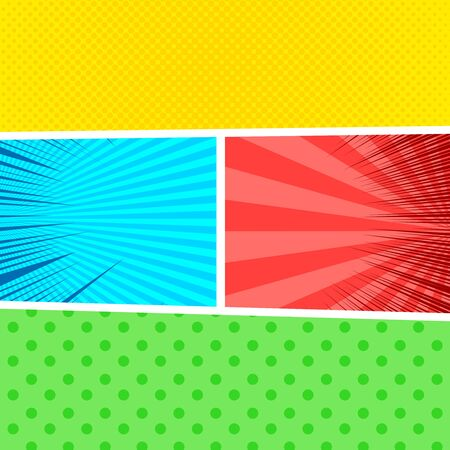 Comic colorful composition with dotted halftone radial and beams effects. Vector illustration