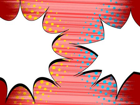 Comic rivalry concept with white speech bubbles opposite each others yellow and blue halftone effects on red rays and striped background. Vector illustration Illusztráció